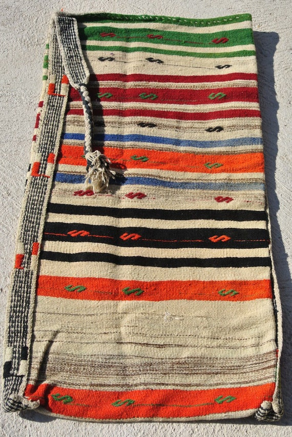 "Collectable Oriental Grains Sack, Rare Vintage Handwoven Rug Bag, Tribal Anatolian storage Bag / 25,1""x 59,4"""