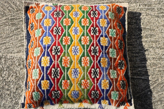 Vintage Turkish Cushion Cover in Vibrant Red, Blue, Orange, Yellow Geometric Patterns / 15,75''x 15,75''