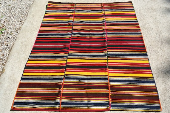 Vintage Striped Hand Woven Jijim Rug, Traditional Ethnic Kilim Rug, Tribal Flatweave Kelim Rug / 59''x 81''