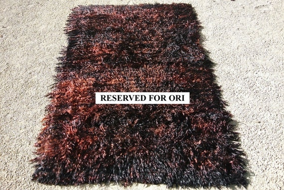 RESERVED FOR ORI Old Tribal Oriental Tulu Rug, Warm Flame and Black Mohair Filikli, Vintage Turkish Angora Goat Wool Rug / 63 x 89,4 inches