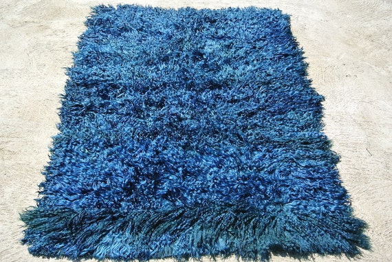 "Authentic Ethnic Long Piled Turkish Rug, Spanish Blue ""Azul"" Filikli Tulu, Indigo Hanging, Blue Floor Carpet / 64,6''x 86,6''"