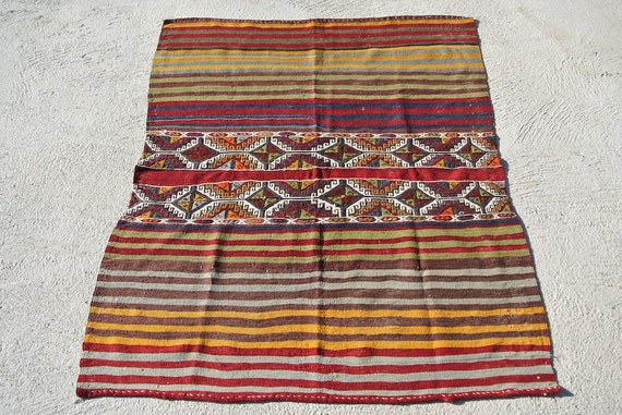 Antique Tribal Oriental Open Rug Sack, Small Autumnal Flat Woven Mat / 49,6'' x 63''
