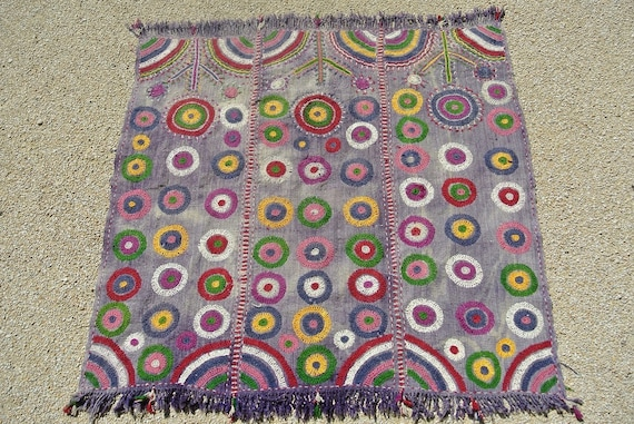 Multicolor Hand Embroidered Tribal Turkish Baby Blanket, Vintage Wool Hand weave / 43,9'' x  45,6''
