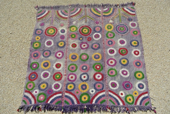 Multicolor Hand Embroidered Tribal Turkish Baby Blanket, Vintage Wool Handweave / 43,9'' x  45,6'' - 111,5 x 116 cm