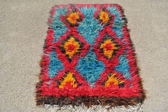 Tribal Turkish Hand Knotted Filikli Rug, Vintage Hand Woven Anatolian Tulu Floor Rug, Amazing Ethnic Rug  /  43,3'' x 60,6 ''
