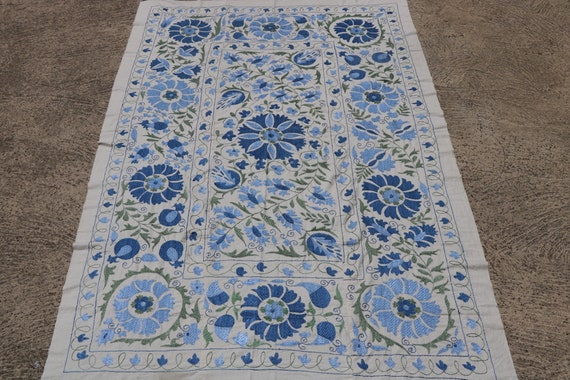 Silk Embroidered Suzani, Denim and Cornflower Blue Ottoman Patterns on White Cotton Foundation / 56,3'' x 81,11''