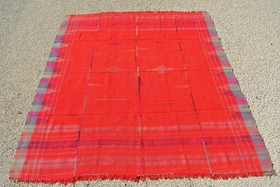 Stunning Tribal Jajim and Cover, Moj Twill Blanket, Tapestry Kurdish Hand Woven  Plaid Cover / 74,8'' x 86,6''