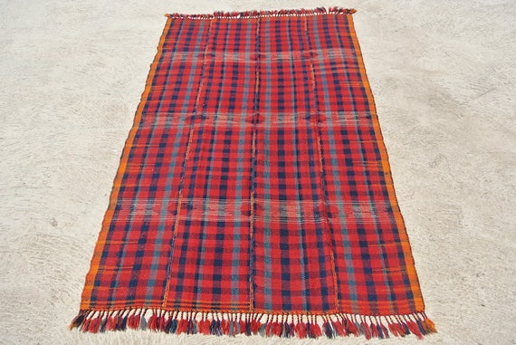 Tribal Jajim Cover, Moj Kurd Twill Blanket, Brocaded Oriental Rug Textile / 53,5''x 92,5''