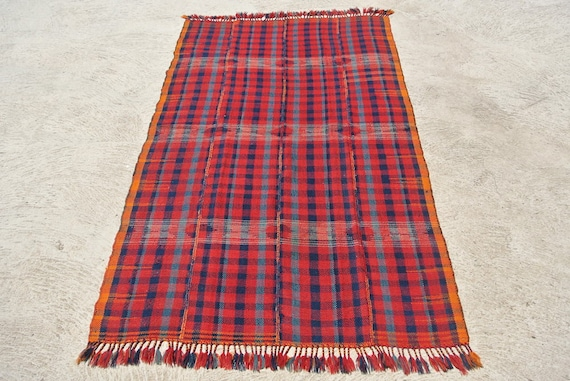 Tribal Jajim Cover, Moj Kurd Twill Blanket, Brocaded Oriental Rug Textile / 53,5''x 92,5'' - 136 x 235 cm