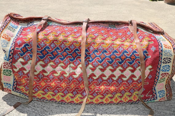 Gorgeous Soft Multicolor Mafrash, Unusual Designed Three-dimensional Wool Handmade Bag / 18,12''x 43,71''- H.: 13,78''