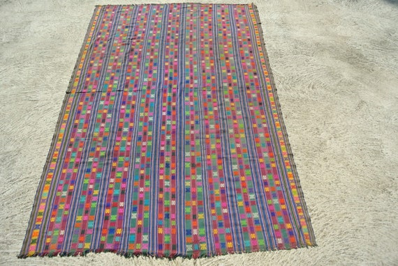 Vintage Hand Woven Brocaded Bhutan Kira Green, Blue, Red-Maroon Ground Silk and Cotton Threads / 61,4'' x 91,3 ''