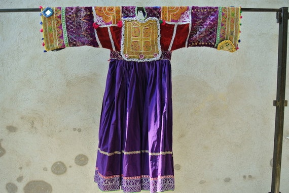 Vintage Pashtun Tribal Woman Dress with a densely embroidered panel and bead work / 44,9''x 50''