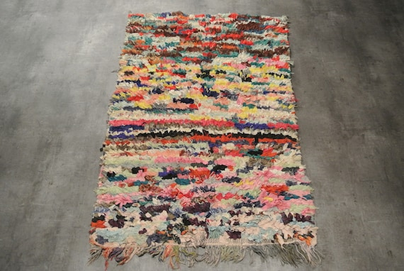 Unusual Colourful Tribal Berber Rug from Morocco Hand Woven Hand Knotted Boucherouite / 38,97'' x 61''