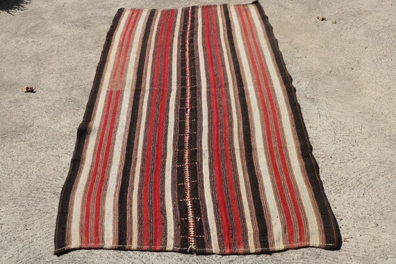 Beautiful Vintage Tribal Woven Wool Blanket or Floor Rug / 57,88'' x 92,13''