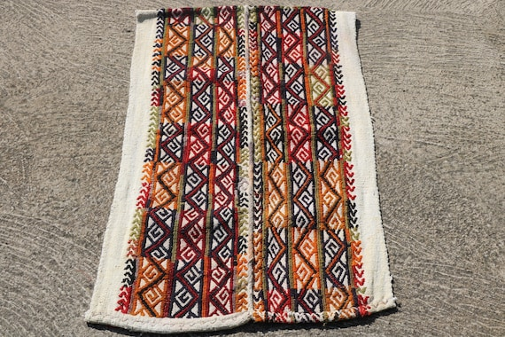 Beautiful Small Ecru Cotton Mat with Wool Autumnal Geometric Patterns / 27,16'' x 43,7''
