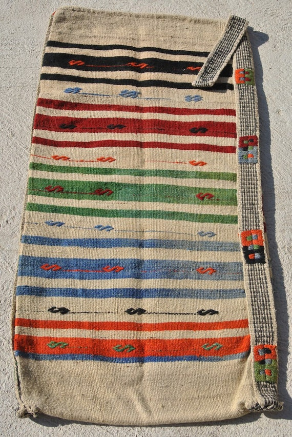 Original Oriental Storage Sack, Large Ala çuval, Multicolor striped Nomadic Turkish Bag / 25,5 x 59,4 inches