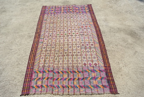 White Bhutan Handmade Kira Textile Kushutara Highly Skilled Weave with Intricate Colourful Designs - 51,9''x 95,6''– 142 x 243