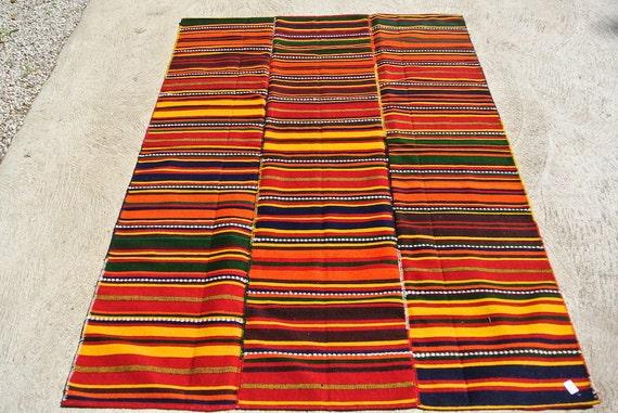Tribal Rug Blanket, Vintage Jajim Cover, Flatweave Kilim Rug, Oriental Tribal Rug / 61,4''x 88,9''