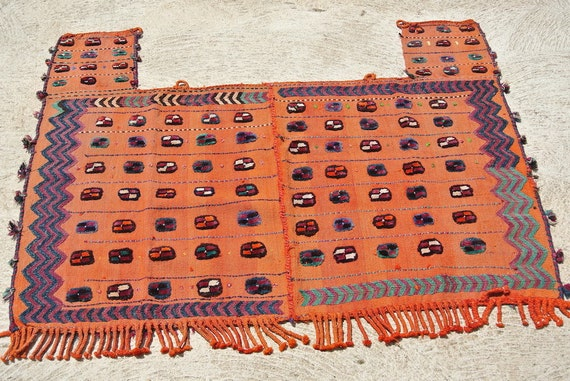 Soft Orange Antique Persian Tribal Hand Woven Horse Cover, Quasqai Horse Cover Blanket, Kilim Horse cover / 45,6''x 59,8''-116 x 152 cm