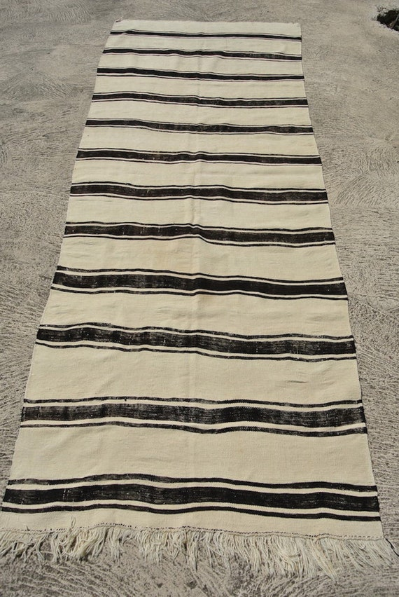 Huge Striped Vintage Wool Handwoven Turkish Kilim Runner Black and Ecru / 52''x 140''