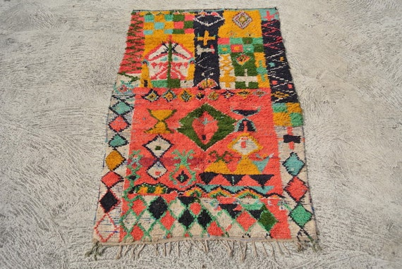 Vintage Berber Rag Rug Cotton and Wool Boucherouite Richly Decorated with a Wide Variety of Tribal Symbols – 43,33''x 67,3''