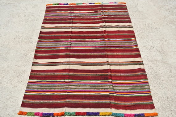 Vintage Hand Woven Striped Turkish Blanket, Old Double Blanket with Pompons, Collectable Wool Blanket / 52''x 78''- 132 x 198 cm