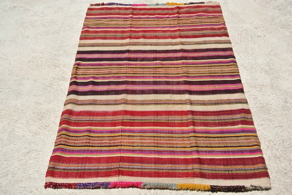 Old Anatolian Blanket, Vintage Hand Woven Blanket, Double Plain Weave Turkish Blanket with Pompons, Collectable / 52''x 79,5''