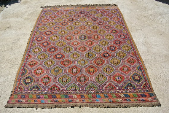 Oriental Tribal Hand Woven Kilim, Cotton Turkish Jijim Wool Brocaded, Ethnic Nomadic Flat Weave / 69,3'' x 92,9''  – 176 x 236 cm