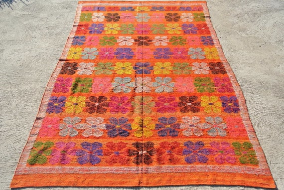 Vintage Soft Orange Tibetan Blanket, Wool Hand Woven, Traditional Floral Motifs from Tibet / 69,3''x 109,4'' – 176 x 278 cm