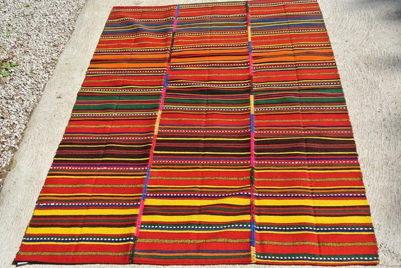 Vintage Multicolored Handwoven Jajim Rug Cover, Tribal Lamb Wool Kilim, Traditional Ethnic Flatweave Kilim Rug / 55,1''x 86,6''-140 x 220 cm