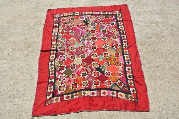 Korak Patchwork Textile, Red Uzbek handmade Patchwork Korak with silk ikat fragments / 44,5'' x 60,6''- 113 x 154 cm