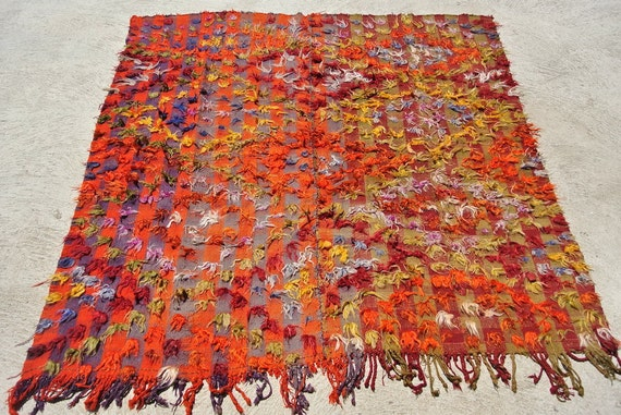 Tribal Camel Cover Blanket, Ceremonial Warm Orange wool Camel Cover, Turkish Camel Cover / 82,6''x 82,6""