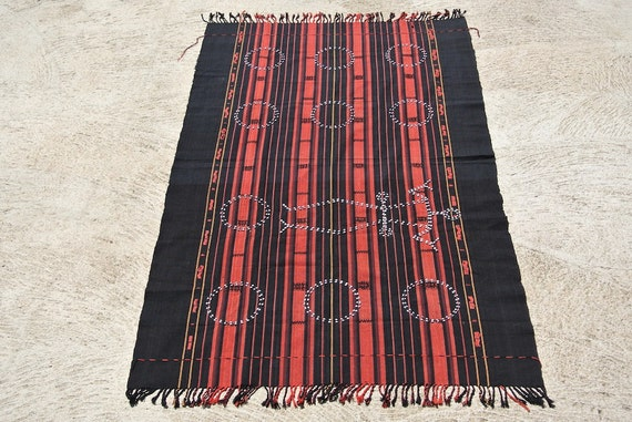 Authentic Vintage Ethnic Hand Woven Cloth from Nagaland, Ethnic Naga Costume, Traditional Naga Tribe Cotton Weave/38,9''x 64,9''