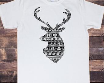 cfb8fe5b3f7ed7 Herren weiß T-shirt Weihnachten schwarz Rentier Effekt Xmas Neuheit Druck  TS380 stricken