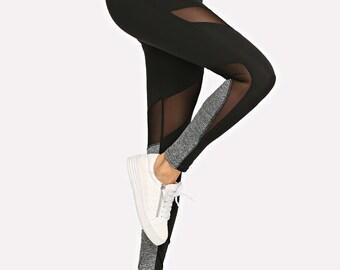 3cfd2cb5e1853 Women's Leggings Active Contrast Mesh Skinny Yoga gym fitness Leggings