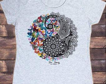 Find Balance Zen Print JTK-X15 Jersey Tank Top Beautiful Yin Yang Butterfly