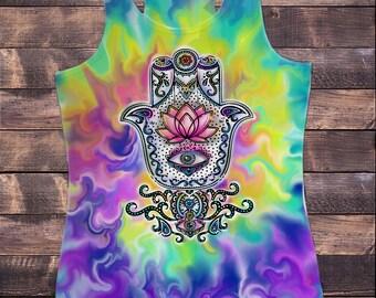 Womens Vest Fatima Hamsa Hand Boho Zen Eye Print Tie Dye Effect Print SUB877