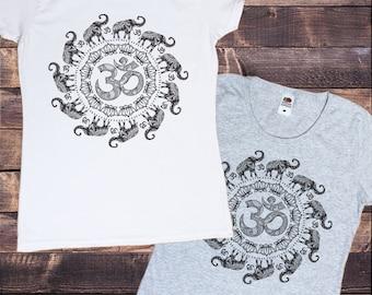 Women's T-Shirt OM Flowery Pattern Elephant Spiral India Boho om Zen Print TS639