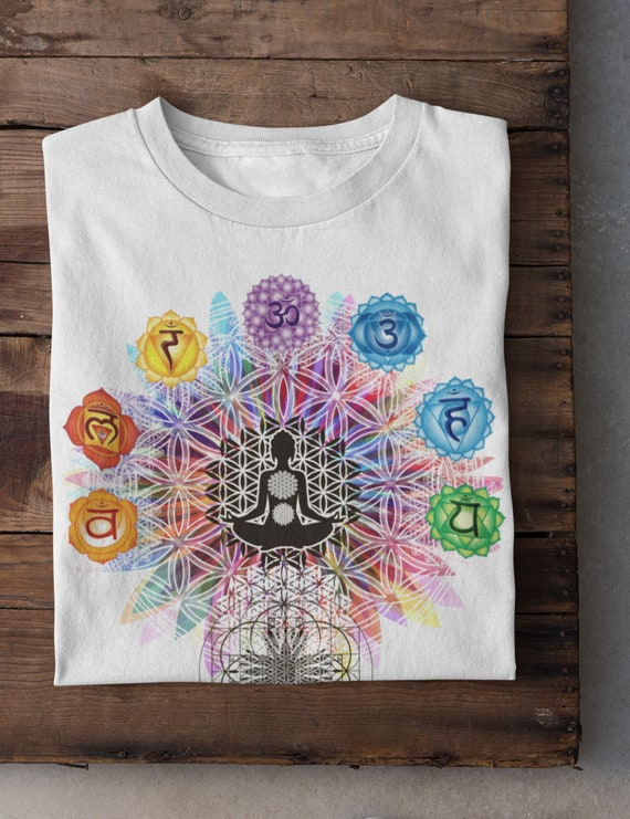 "TS796 Womens T-Shirt /""Flower Of Life/"" Buddha Chakra Symbols Geometric Design"