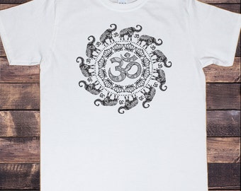 Mens T-Shirt OM Flowery Pattern Elephant Spiral India Boho om Zen Print TS639