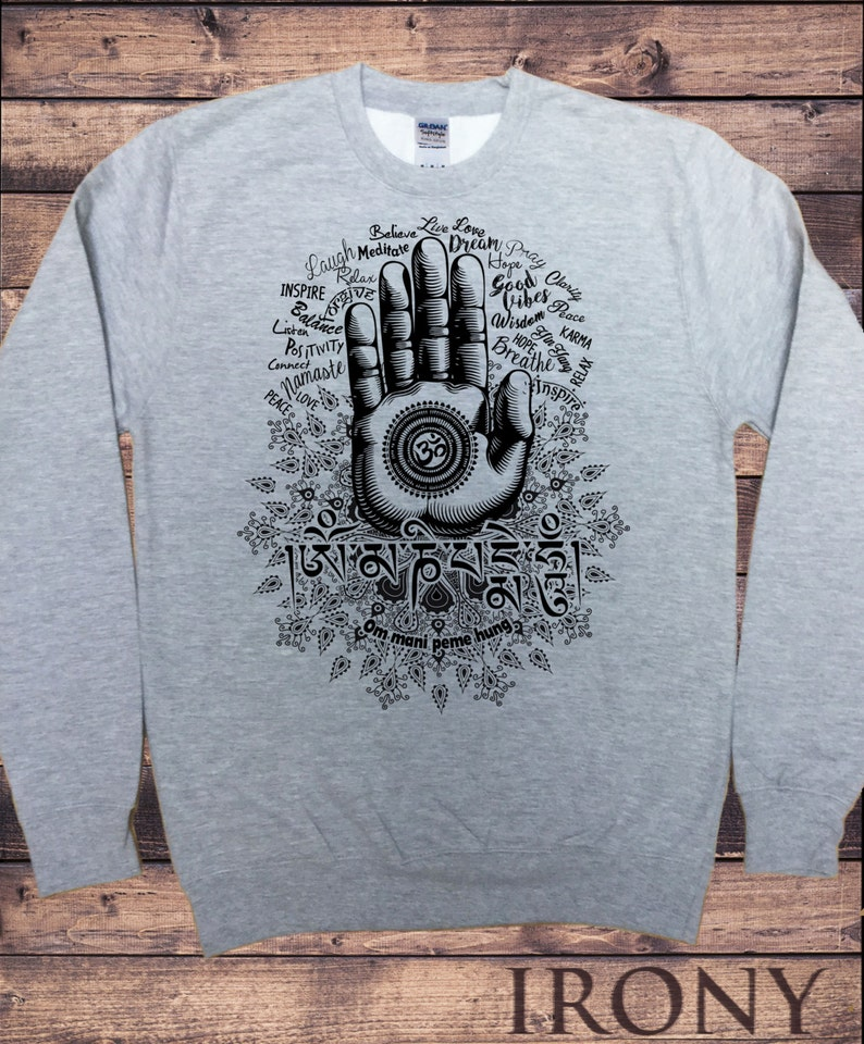 19b4c6e6 Men's Grey Sweatshirt Hamsa Hand Quotes Namaste Meditation   Etsy