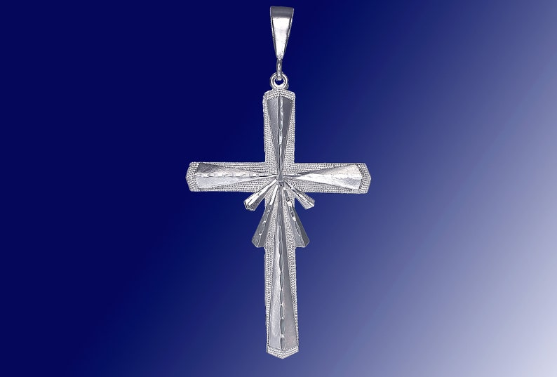 Huge Sterling Silver Cross without Jesus Pendant Necklace 4 Inches 15 Grams with Diamond Cut Finish and 24 Inch Figaro Chain