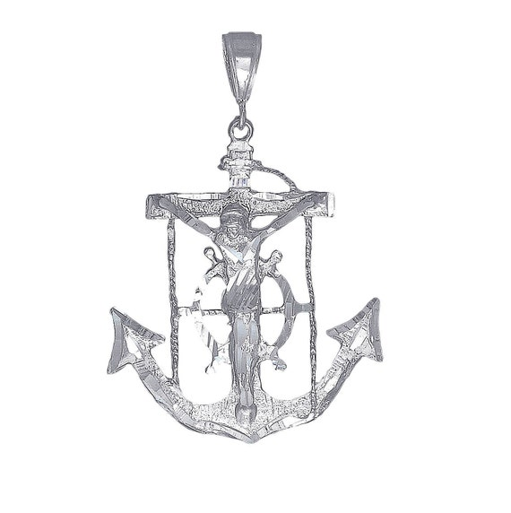 Sterling Silver Anchor Cross with Jesus Charm Pendant Necklace with Diamond Cuts