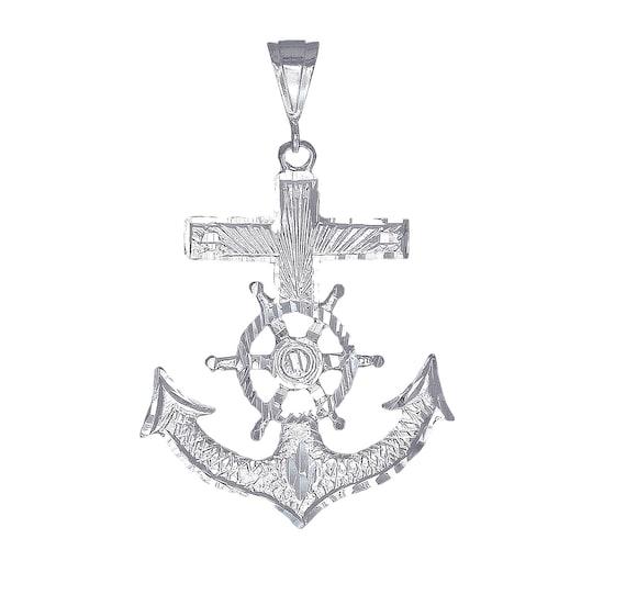 925 Sterling Silver Diamond-cut Mariners Cross Solid Charm Pendant