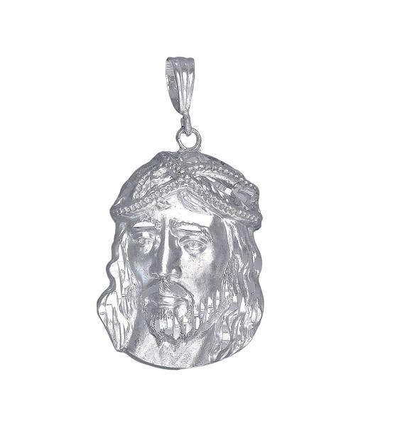Large Sterling Silver Jesus Head Pendant Necklace 2.6 Inches 17 Grams with Diamond Cut Finish and 24 Inch Chain