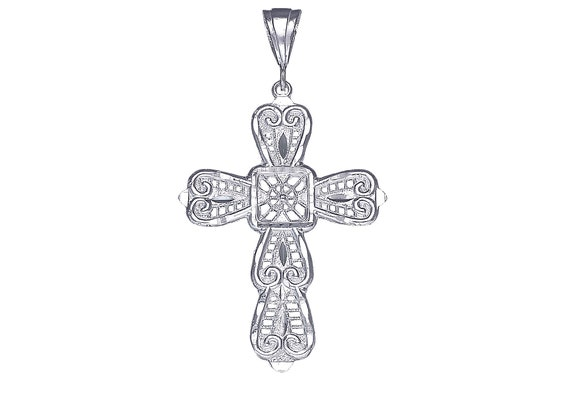 "925 Sterling Silver Cross Charm Pendant Necklace with Diamond Cuts and 24/"" Chain"
