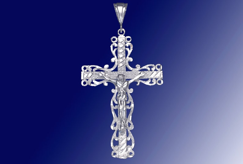 Sterling Silver Cross Pendant Charm Necklace Handmade eJewelryPlus