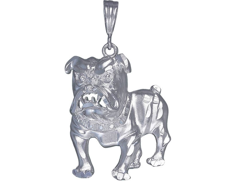 Sterling Silver Bulldog Pendant Necklace Diamond Cut Finish 3.6 Inch 40 Grams