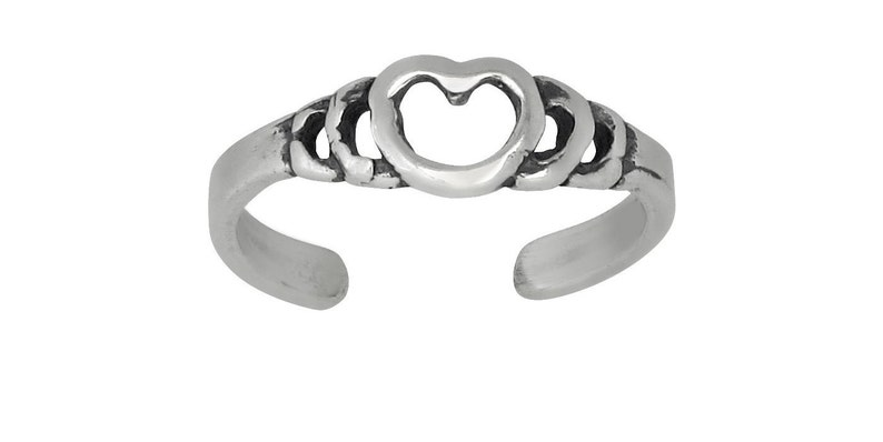 Sterling Silver .925 Heart Toe Ring Adjustable Size Oxidized Made in USA