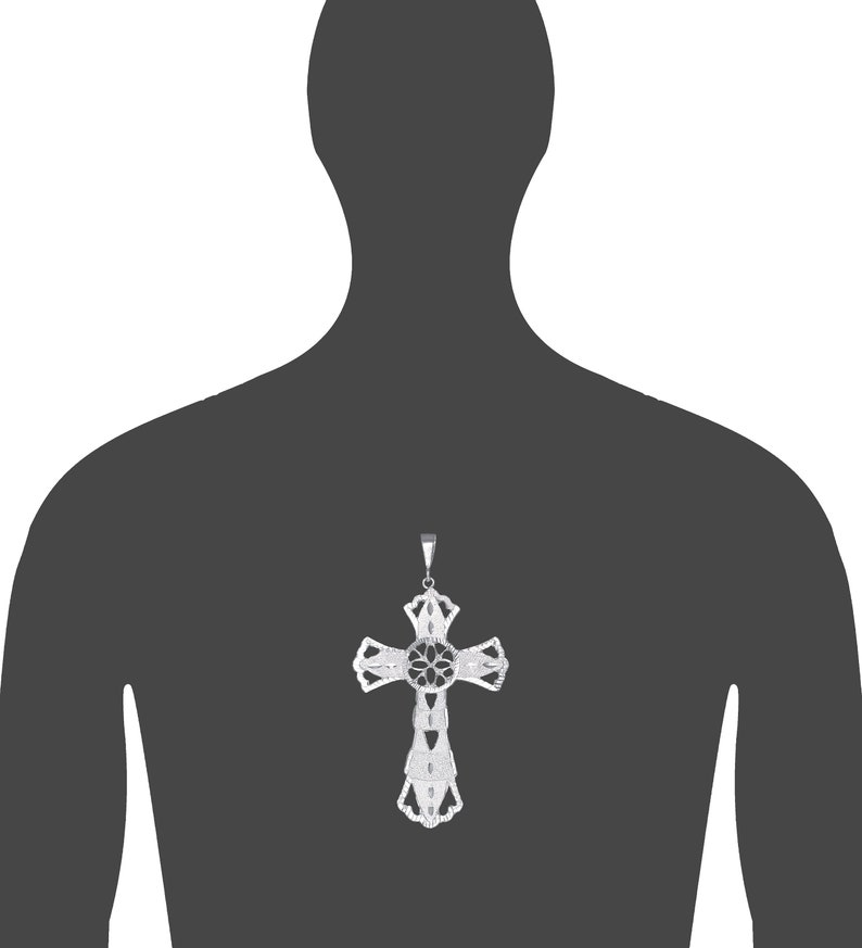 .925 Sterling Silver and Textured Large Floral Cross with Jesus Charm Pendant